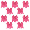 "10 Medium Pink Cheer Bows for Girls 7"" Large Hair Bows with Clip Holder Ribbon"