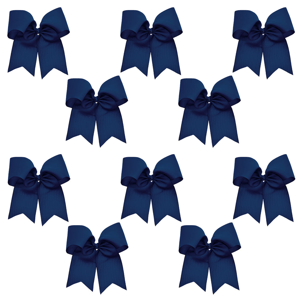10 Navy Cheer Bows Large Hair Bow with Ponytail Holder Cheerleader Ponyholders Cheerleading Softball Accessories