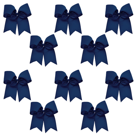 "10 Navy Cheer Bows for Girls 7"" Large Hair Bows with Clip Holder Ribbon"