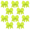 10 Neon Yellow Cheer Bows Large Hair Bow with Ponytail Holder Cheerleader Ponyholders Cheerleading Softball Accessories