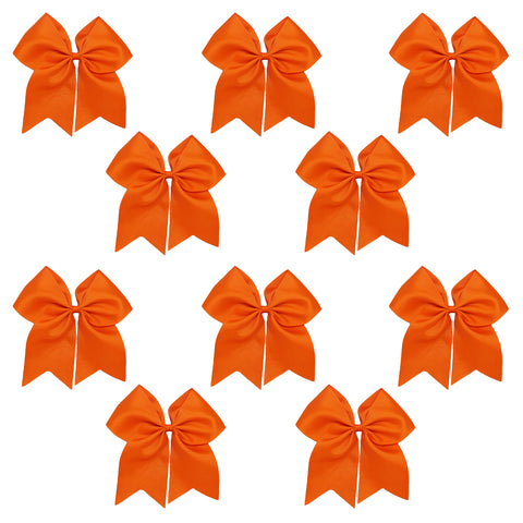 "10 Orange Cheer Bows for Girls 7"" Large Hair Bows with Clip Holder Ribbon"