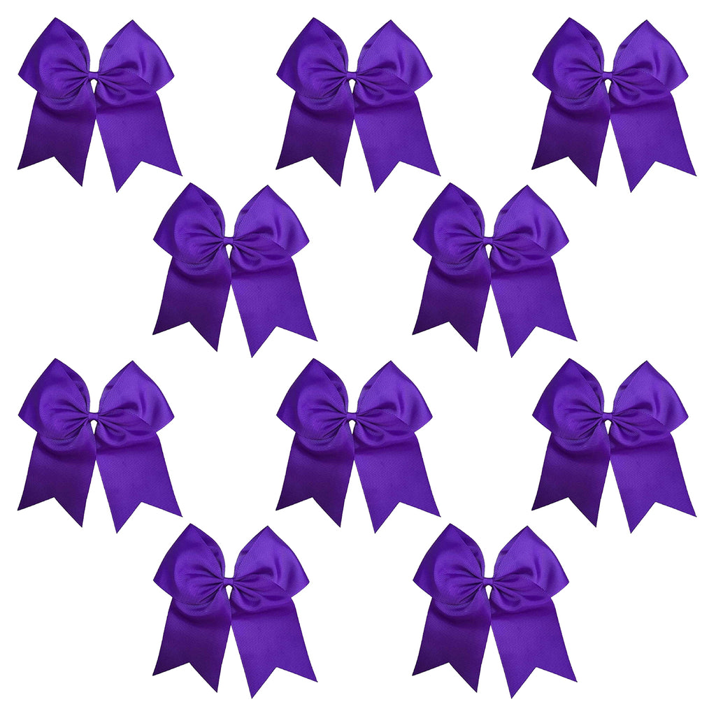 "10 Purple Cheer Bows for Girls 7"" Large Hair Bows with Clip Holder Ribbon"