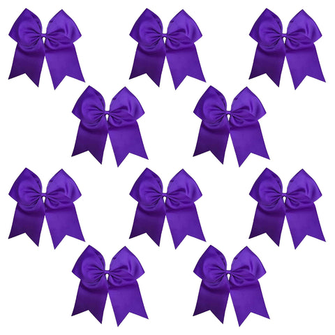 10 Purple Cheer Bows Large Hair Bow with Ponytail Holder Cheerleader Ponyholders Cheerleading Softball Accessories