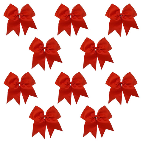 "10 Red Cheer Bows for Girls 7"" Large Hair Bows with Clip Holder Ribbon"