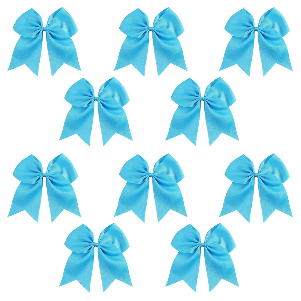 "10 Teal Cheer Bows for Girls 7"" Large Hair Bows with Clip Holder Ribbon"