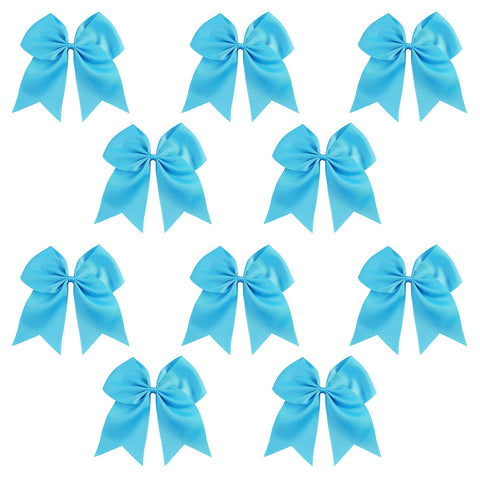 "12 Teal Cheer Bows for Girls 7"" Large Hair Bows with Clip Holder Ribbon"
