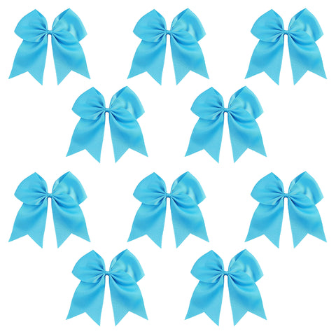 10 Teal Cheer Bows Large Hair Bow with Ponytail Holder Cheerleader Ponyholders Cheerleading Softball Accessories