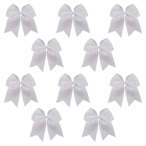 "10 White Cheer Bows for Girls 7"" Large Hair Bows with Clip Holder Ribbon"