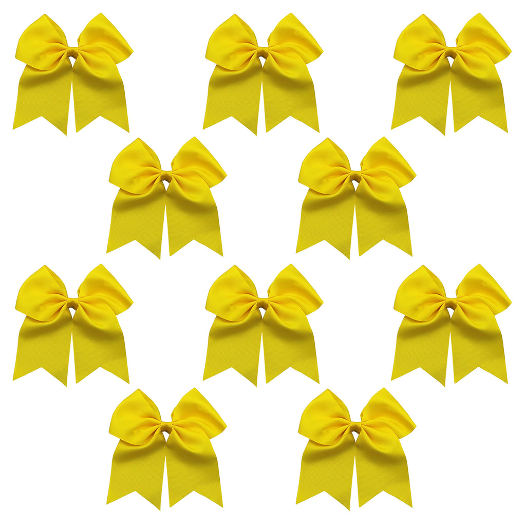 10 Yellow Cheer Bows Large Hair Bow with Ponytail Holder Cheerleader Ponyholders Cheerleading Softball Accessories