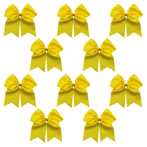 "10 Yellow Cheer Bows for Girls 7"" Large Hair Bows with Clip Holder Ribbon"