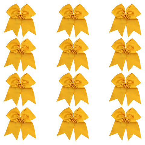 "12 Athletic Gold Cheer Bows for Girls 7"" Large Hair Bows with Clip Holder Ribbon"