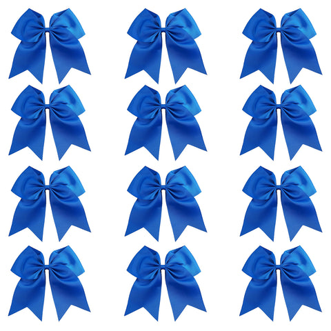 "12 Blue Cheer Bows for Girls 7"" Large Hair Bows with Clip Holder Ribbon"