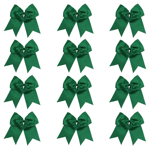"12 Forest Cheer Bows for Girls 7"" Large Hair Bows with Clip Holder Ribbon"