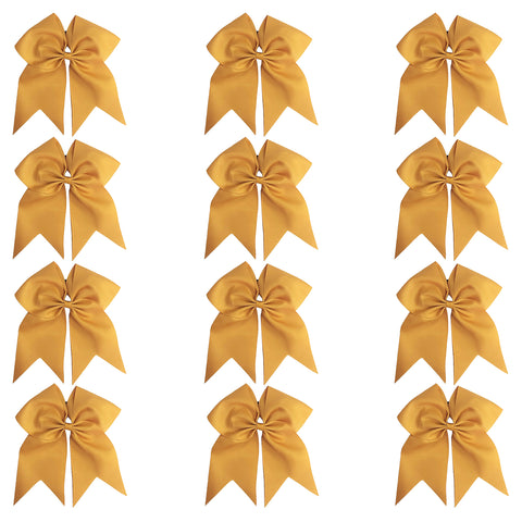 "12 Gold Cheer Bows for Girls 7"" Large Hair Bows with Clip Holder Ribbon"