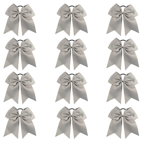"12 Gray Cheer Bows for Girls 7"" Large Hair Bows with Clip Holder Ribbon"