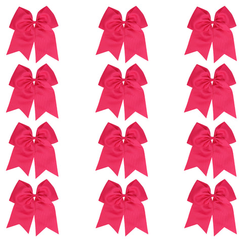 "12 Hot Pink Cheer Bows for Girls 7"" Large Hair Bows with Clip Holder Ribbon"