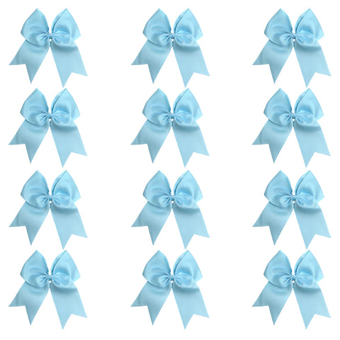 "12 Light Blue Cheer Bows for Girls 7"" Large Hair Bows with Clip Holder Ribbon"
