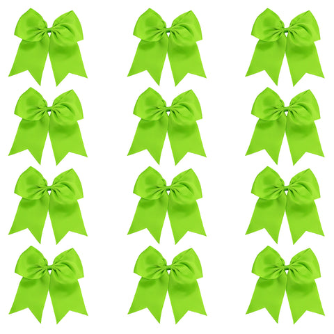 "12 Lime Cheer Bows for Girls 7"" Large Hair Bows with Clip Holder Ribbon"