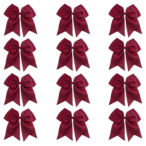 "12 Maroon Cheer Bows for Girls 7"" Large Hair Bows with Clip Holder Ribbon"