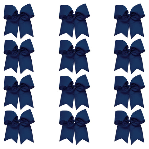 "12 Navy Cheer Bows for Girls 7"" Large Hair Bows with Clip Holder Ribbon"