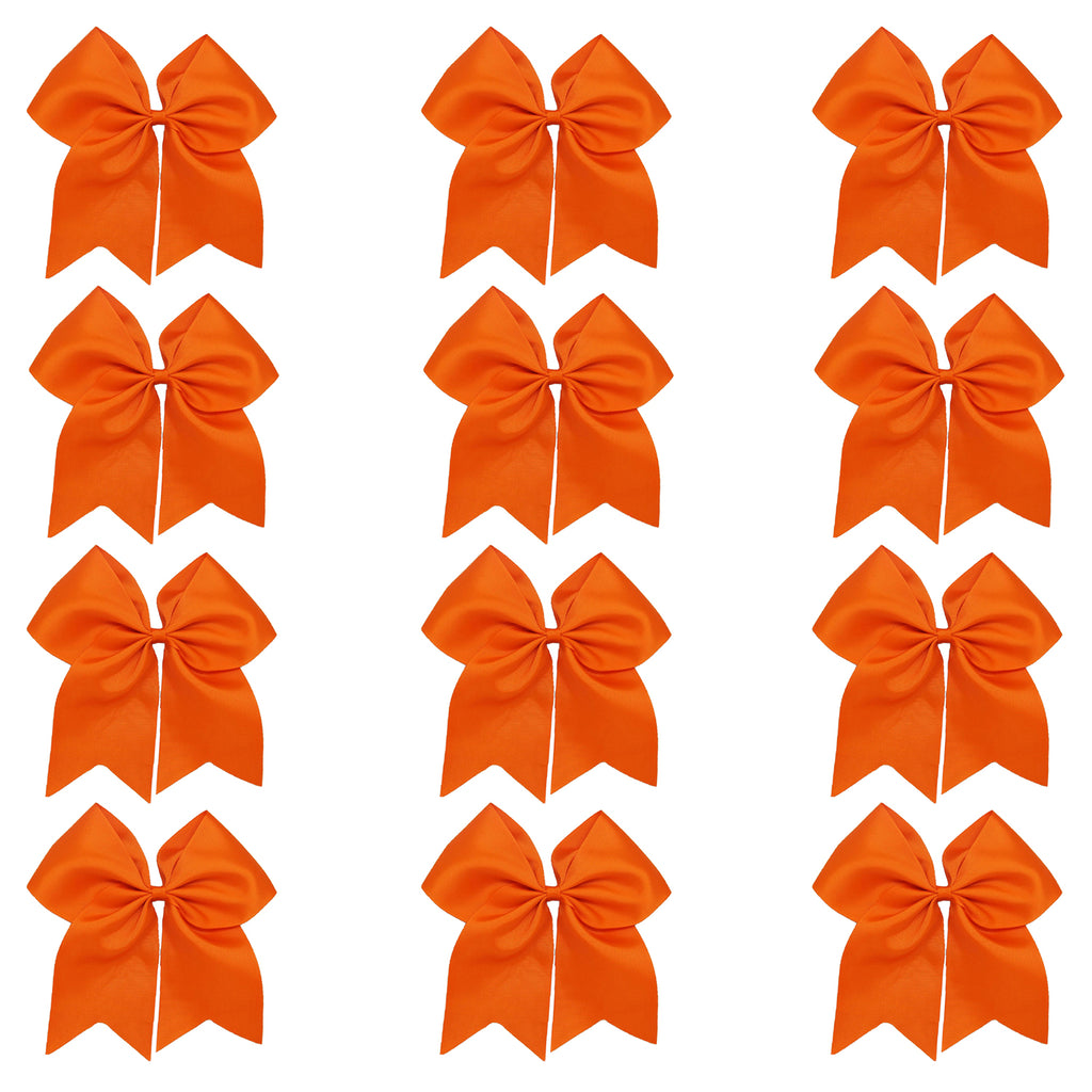 "12 Orange Cheer Bows for Girls 7"" Large Hair Bows with Clip Holder Ribbon"