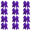 "12 Purple Cheer Bows for Girls 7"" Large Hair Bows with Clip Holder Ribbon"