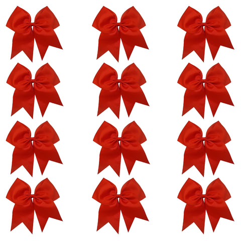 "12 Red Cheer Bows for Girls 7"" Large Hair Bows with Clip Holder Ribbon"