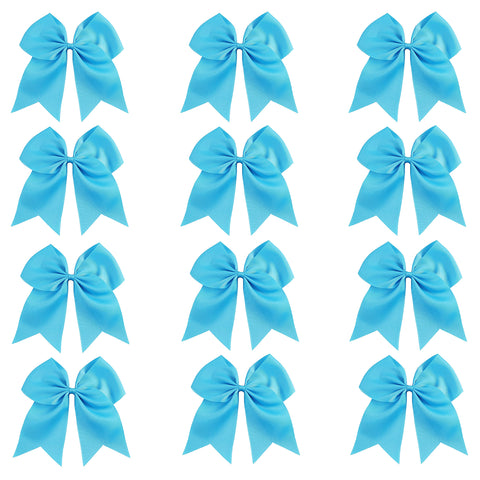 12 Teal Cheer Bows Large Hair Bow with Ponytail Holder Cheerleader Ponyholders Cheerleading Softball Accessories