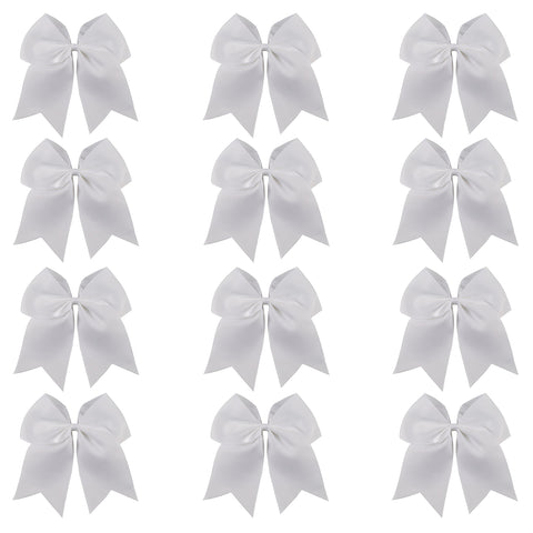 "12 White Cheer Bows for Girls 7"" Large Hair Bows with Clip Holder Ribbon"
