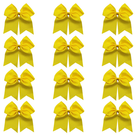 "12 Yellow Cheer Bows for Girls 7"" Large Hair Bows with Clip Holder Ribbon"