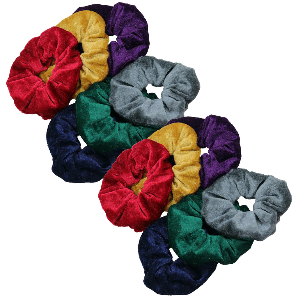 Velvet Scrunchies 12 Pack Jewel Tones