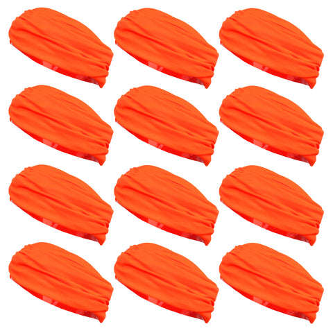 Multifunctional Headbands 12 Wide Yoga Running Workout Neon Orange