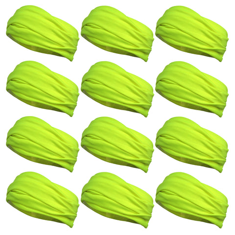 Multifunctional Headbands 12 Wide Yoga Running Workout Neon Yellow
