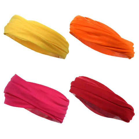 Multifunctional Headbands 4 Wide Yoga Running Workout Warm Colors