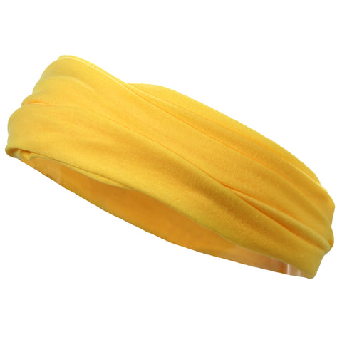 Mulitfunctional Headband Wide Yoga Running Workout Yellow