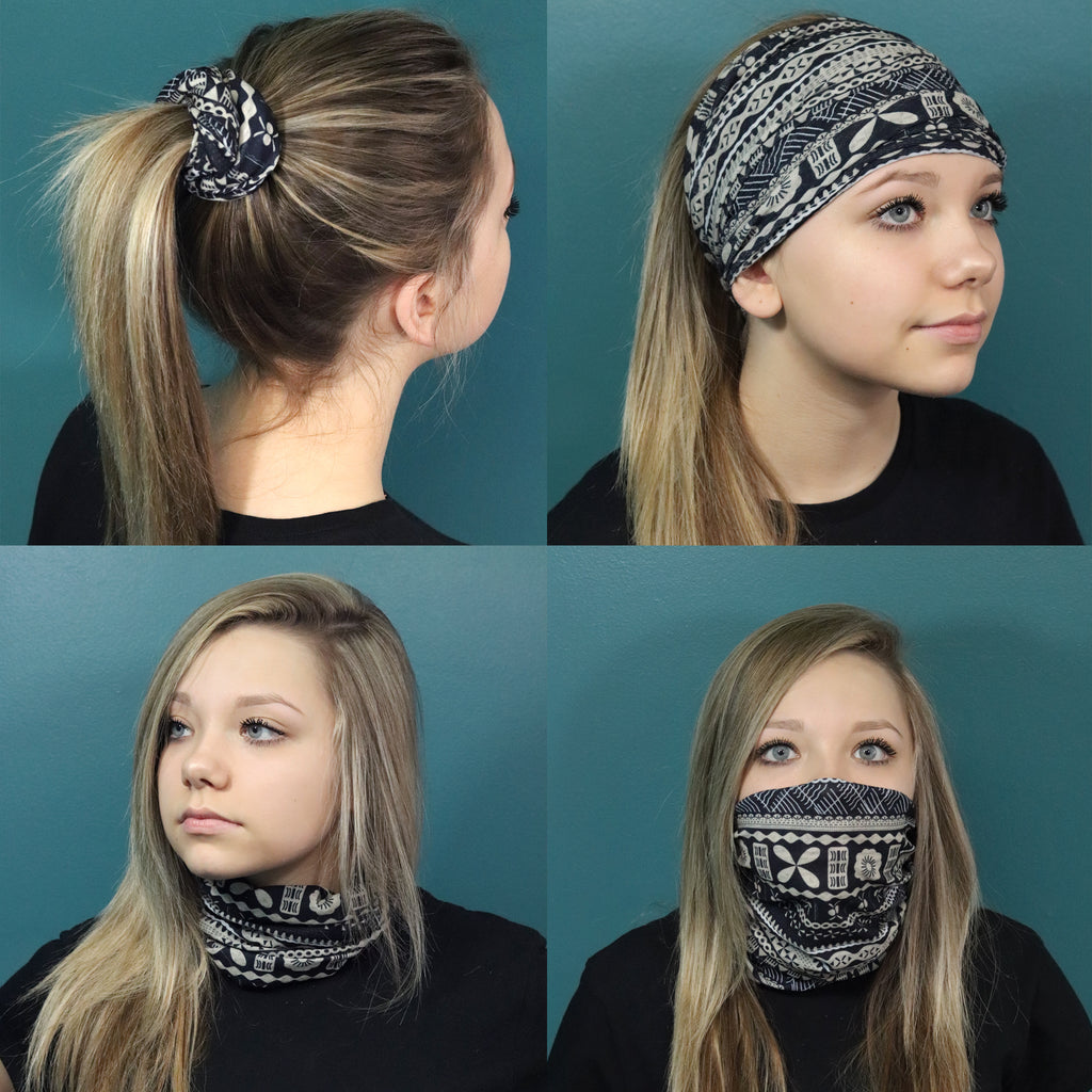 Face Mask Multifunctional Outdoor Indoor Seamless Bandana Wide Buff Running Workout Yoga Band You Pick Colors