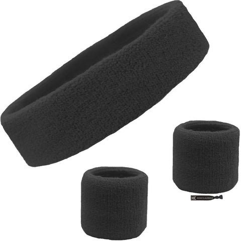 Sweatband Set 1 Terry Cotton Headband and 2 Wristbands Pack Black