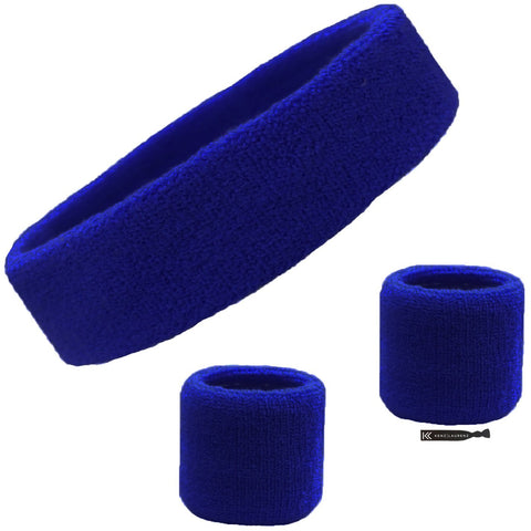 Sweatband Set 1 Terry Cotton Headband and 2 Wristbands Pack Blue