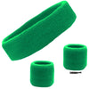 Sweatband Set 1 Terry Cotton Headband and 2 Wristbands Pack Green