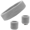Sweatband Set 1 Terry Cotton Headband and 2 Wristbands Pack Gray