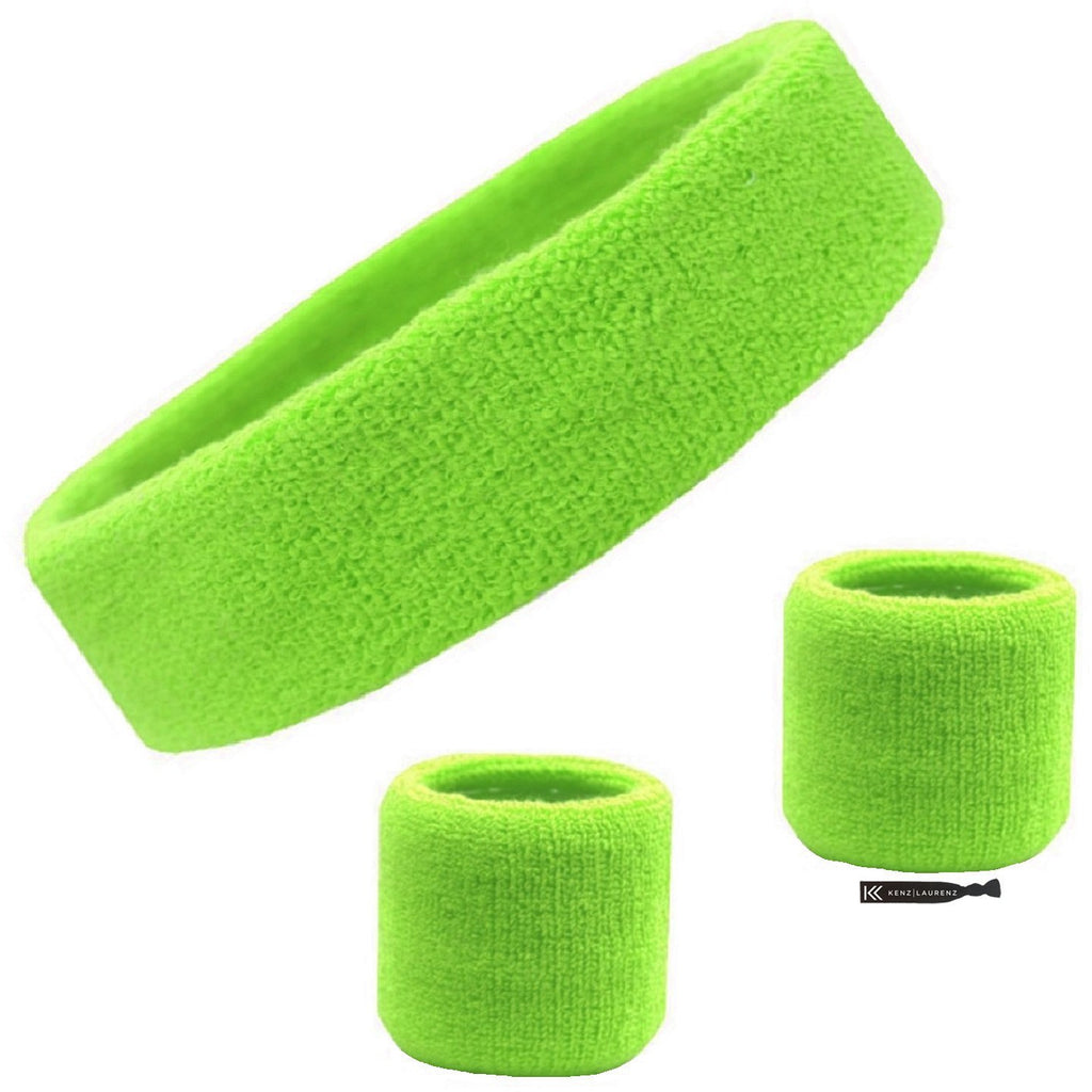 Sweatband Set 1 Terry Cotton Headband and 2 Wristbands Pack Neon Green