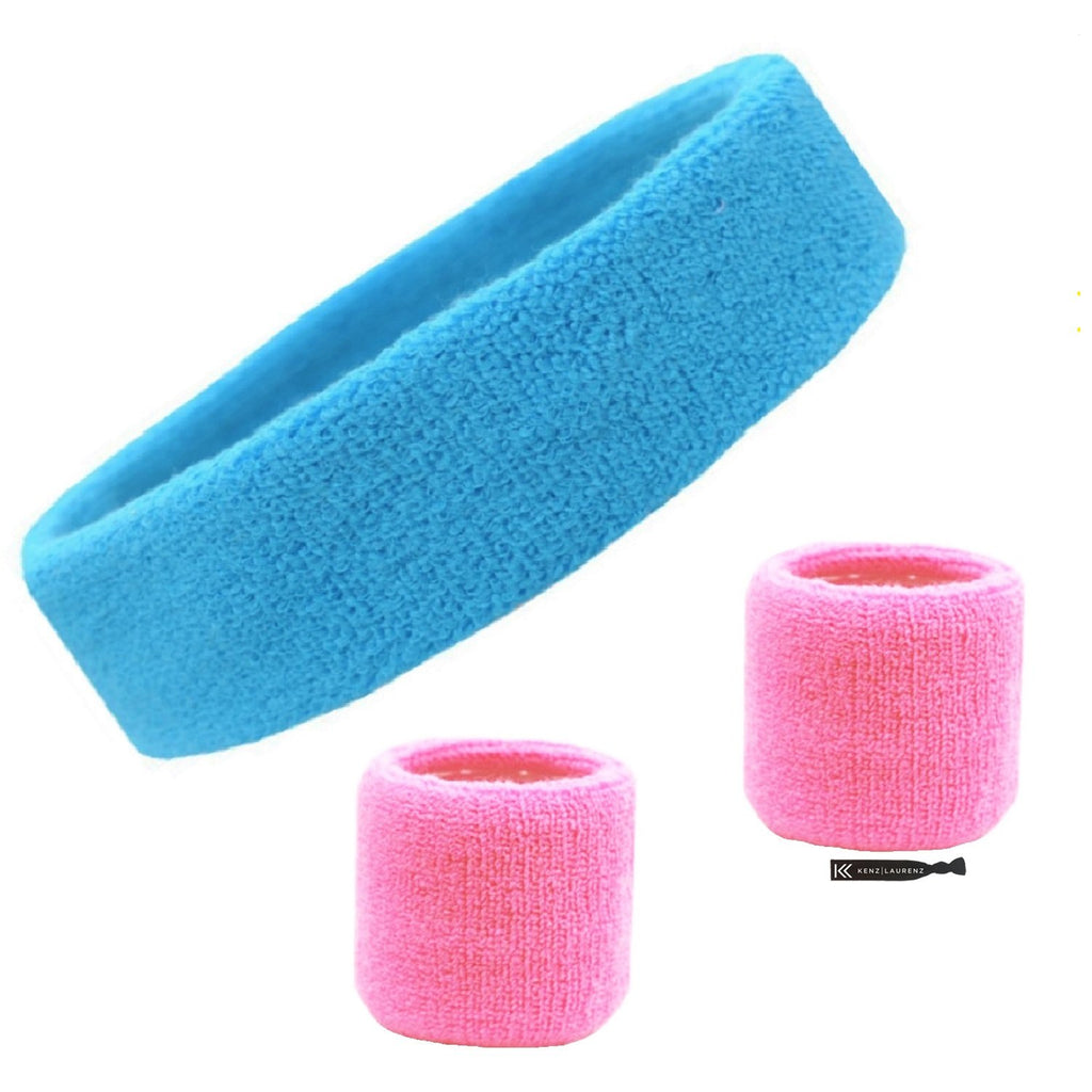 Sweatband Set 1 Terry Cotton Headband and 2 Wristbands Pack Teal  Pink