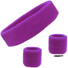 Sweatband Set 1 Terry Cotton Headband and 2 Wristbands Pack Purple