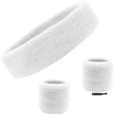 Sweatband Set 1 Terry Cotton Headband and 2 Wristbands Pack White