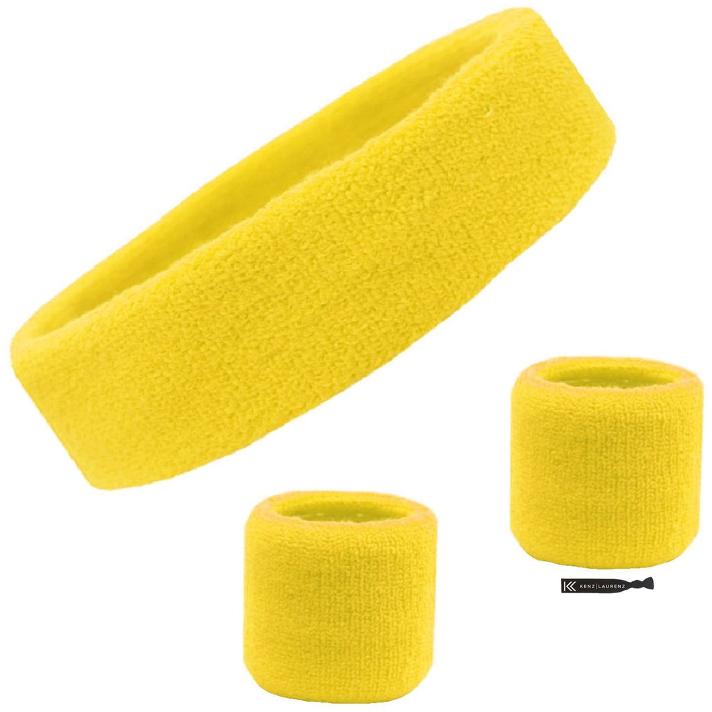 Sweatband Set 1 Terry Cotton Headband and 2 Wristbands Pack Yellow
