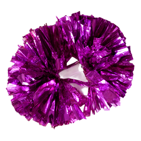Pom Pom for Cheerleaders Cheer Dance Balls Cheerleading Fun Metallic Foil for Boys Girls Team Sports Games School Spirit Purple Hot Pink
