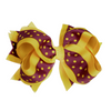 "4"" Classic Bow With Clip Holder Hair Bows Ribbon Bow Tie For Girls Maroon Yellow Dot"