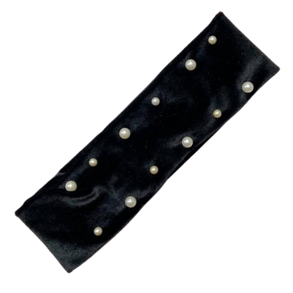Cotton Headband 1 Soft Stretch Headband Elastic Head Bands Velvet Black With Pearls