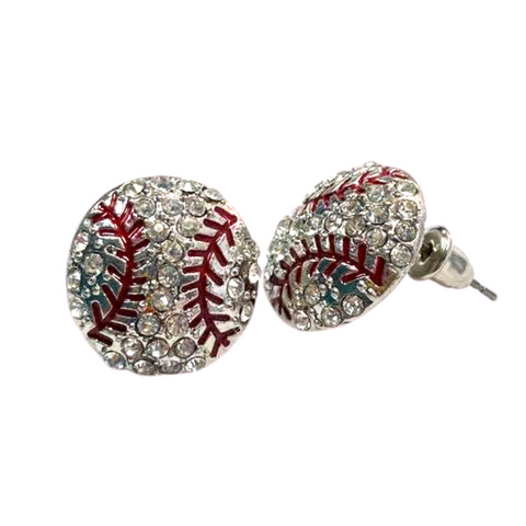 Baseball Stitch 0.5 Inch Post Earrings Rhinestone