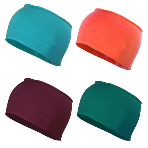 Wide Natural Raw Edge 4 Pack Teal, Jade, Coral, and Maroon Seamless Headband Yoga Running Workout
